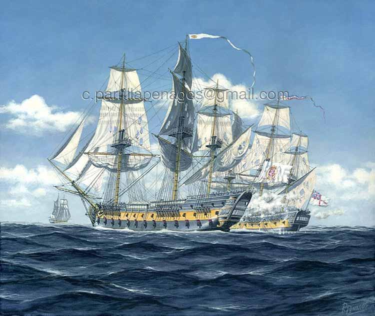 El San Juan apresando la fragata británica Clyde. Pintura de Carlos Parrilla.