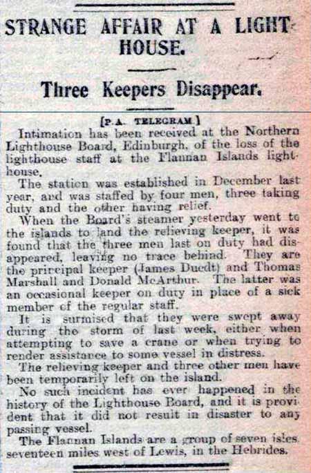 Recorte del incidente de las Islas Flannan del periódico británico