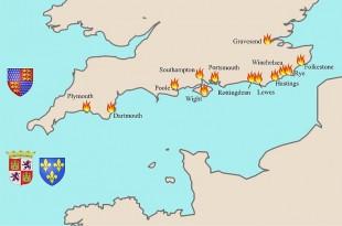 Ataques castellanos y franceses a Inglaterra
