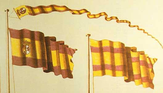 Origen de la bandera de España. Estas fueron las banderas españolas que ganaron el concurso
