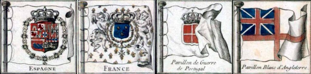 Diferentes pabellones nacionales de 1756