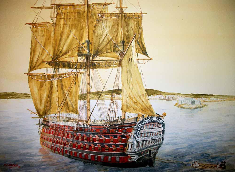 Pintura del navío Santísima Trinidad, de Rafael Castex.