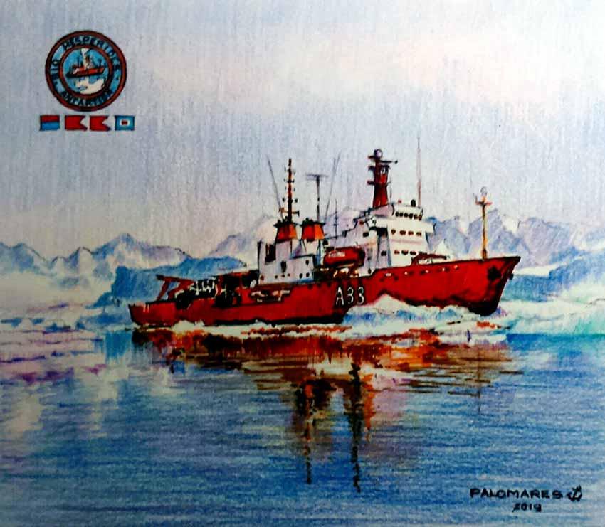 Pintura del buque oceanográfico Hespérides A-33