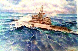 Pintura del patrullero Vigía P-73 de Ildefonso Palomares