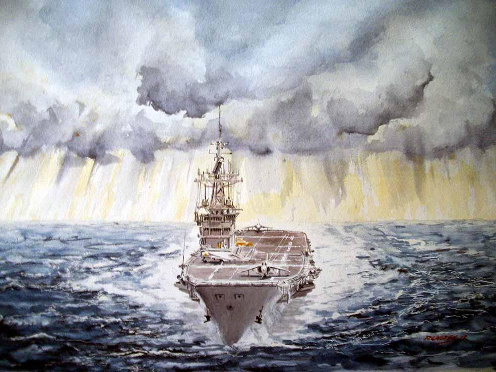 Pintura del portaaviones Príncipe de Asturias