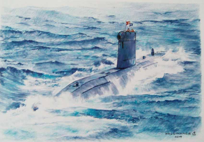 Pintura del submarino Tramontana S-74, de Ildefonso Palomares