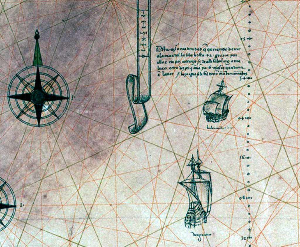 Detalle de la nao Trinidad. Planisferio de Diego Ribero. 1529
