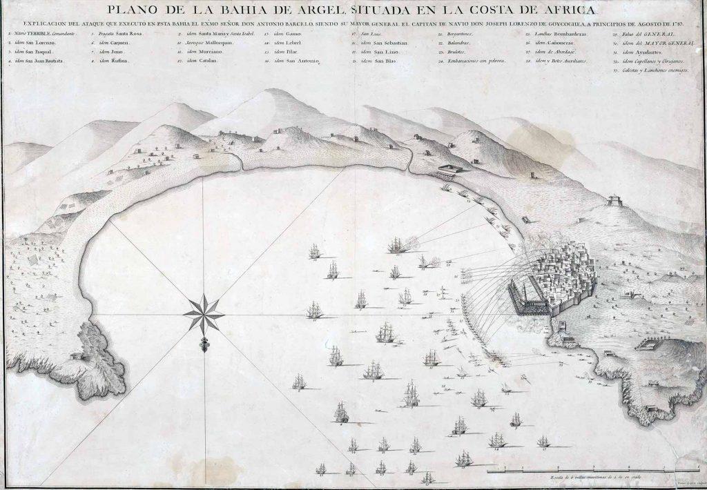 Plano de la bahía de Argel, Situada en la costa de Africa: Explicación del ataque de executó en esta Bahía el Exmo. Señor Don Antonio Barceló