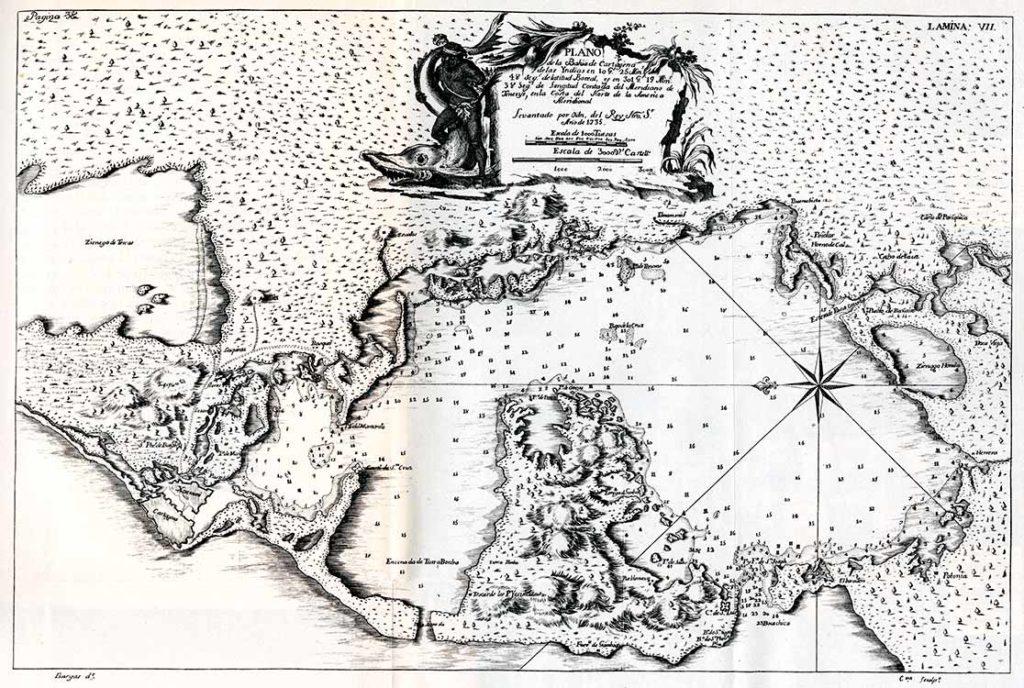 plano de Cartagena de Indias en 1735