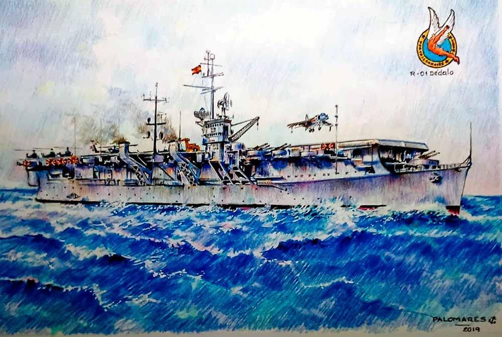 Portaaeronaves Dédalo R-01. Pintura de Ildefonso Palomares