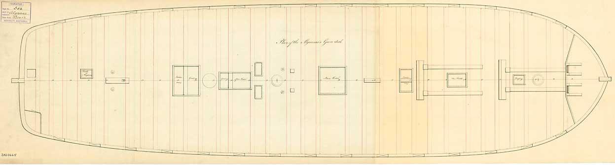 Plano de la primera batería del navío Algeciras
