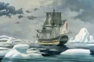 Pintura del navío de línea San Telmo, de 74 cañones, en la Antártida