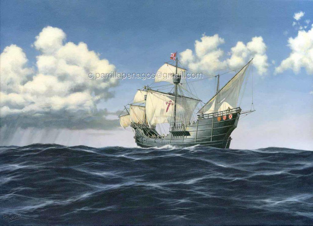 Primus Circumdedisti me. Pintura de la nao Victoria de Juan Sebastián Elcano