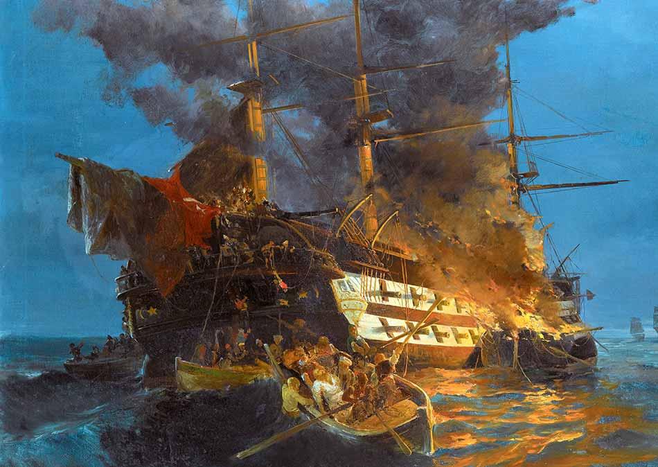 Quema del navío turco Mansuriye