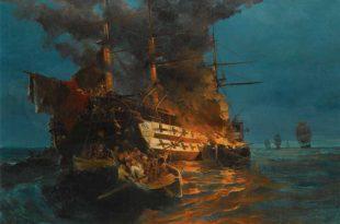quema de una fragata turca por rebeldes griegos. Pintura de Konstantinos Volanakis