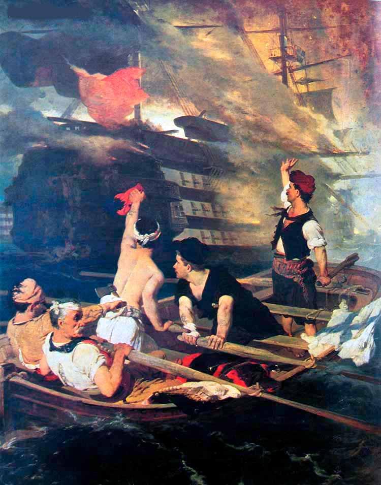 Quema del navío insignia turco por el griego Kanaris en 1822