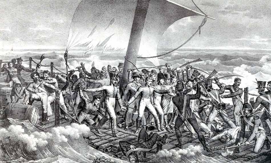 Naufragio de la fragata Medusa. Revuelta de parte de la tripulación en la balsa.