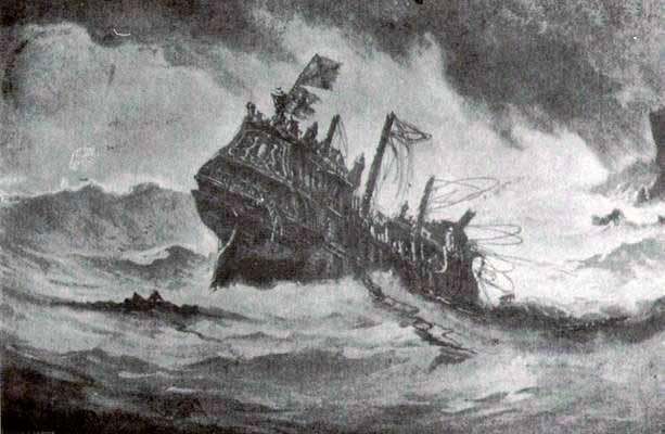 El galeón inglés Revenge, rendido sobre la isla de Flores