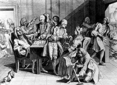 Robert Jenkins muestra su oreja cortada al primer ministro Robert Walpole.