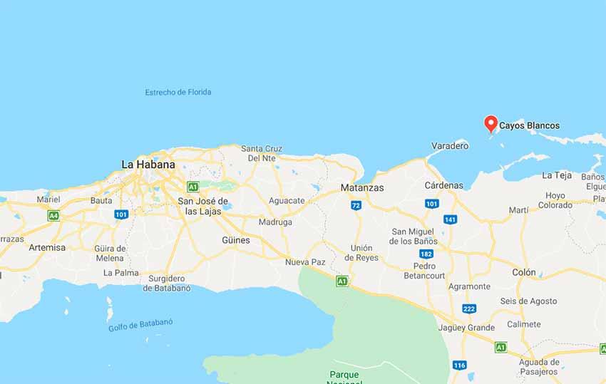 Mapa señalando la zona donde el bergantín San Antonio apresó a los dos corsarios británicos.