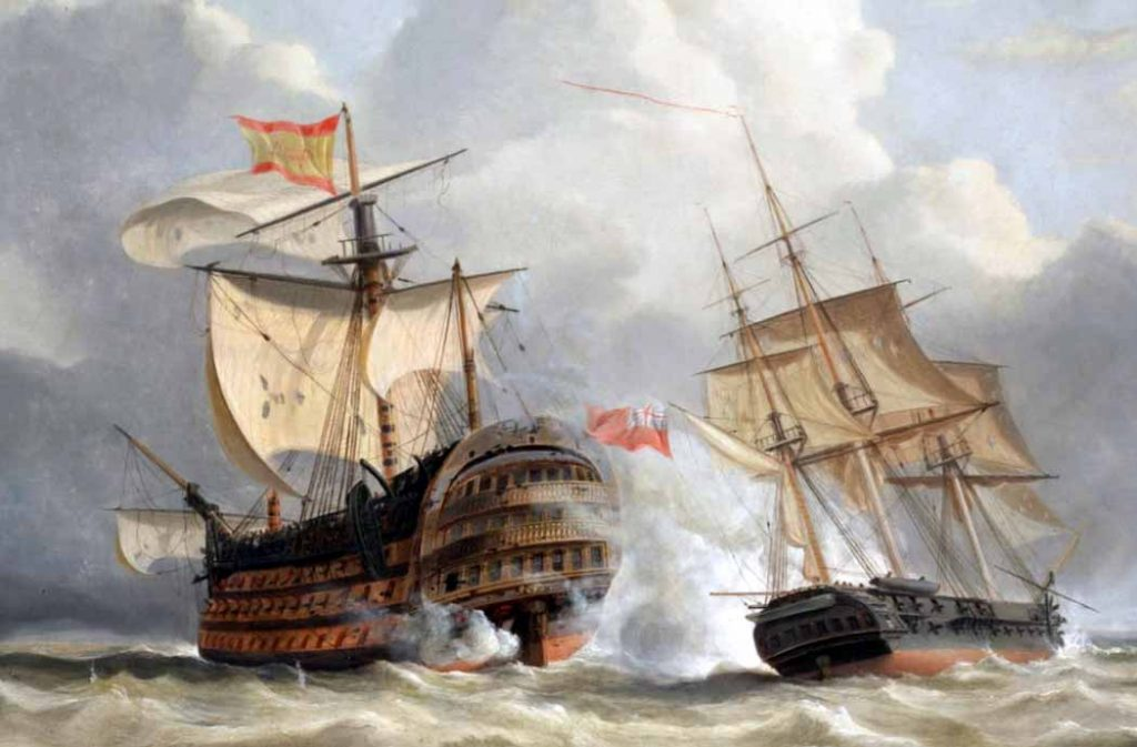 Detalle del cuadro del Navío Santísima Trinidad atacado por la fragata británica HMS Terpsichore. Pintura de John Christian Schetky.