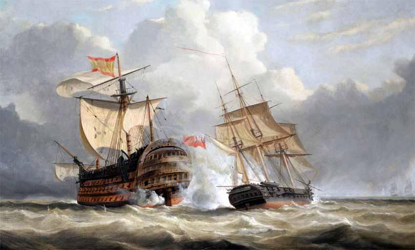 Navío Santísima Trinidad atacado por la fragata británica HMS Terpsichore