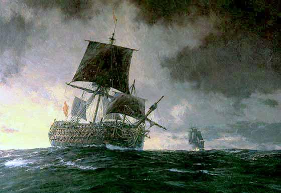 El Accidentado regreso del navío Santísima Trinidad en su regreso a Cádiz tras la Batalla del Cabo de San Vicente