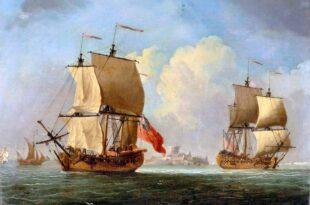 Un sloop inglés y una fragata