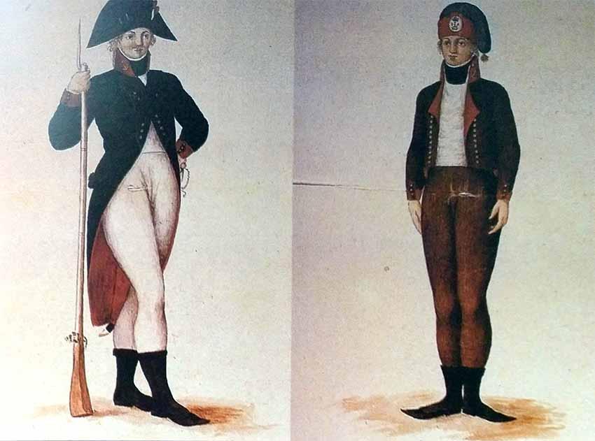 Soldados de artillería de marina de principios del siglo XIX.
