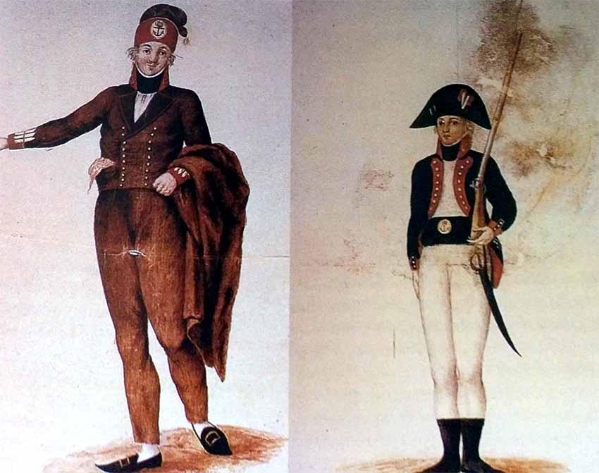 Uniformes de los soldados de infantería de marina españoles de principios del siglo XIX