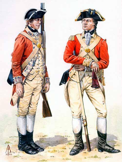 Soldado y oficial británicos de un regimiento de infantería durante las guerra de la independencia de Estados Unidos.