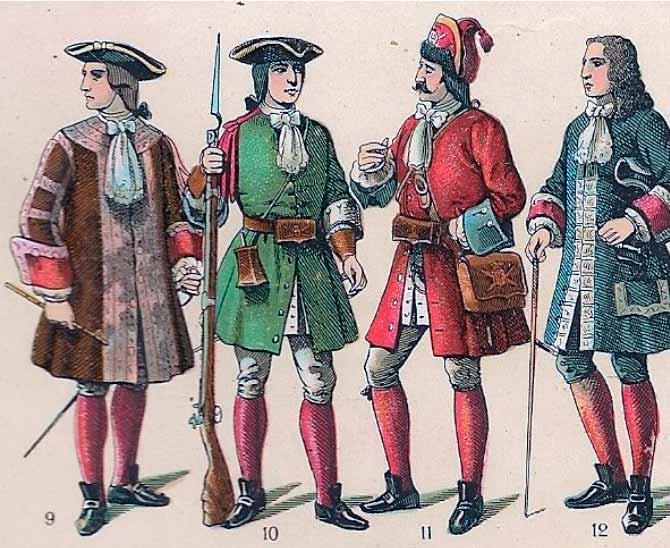 Uniformes de soldados españoles de la primera mitad del siglo XVIII