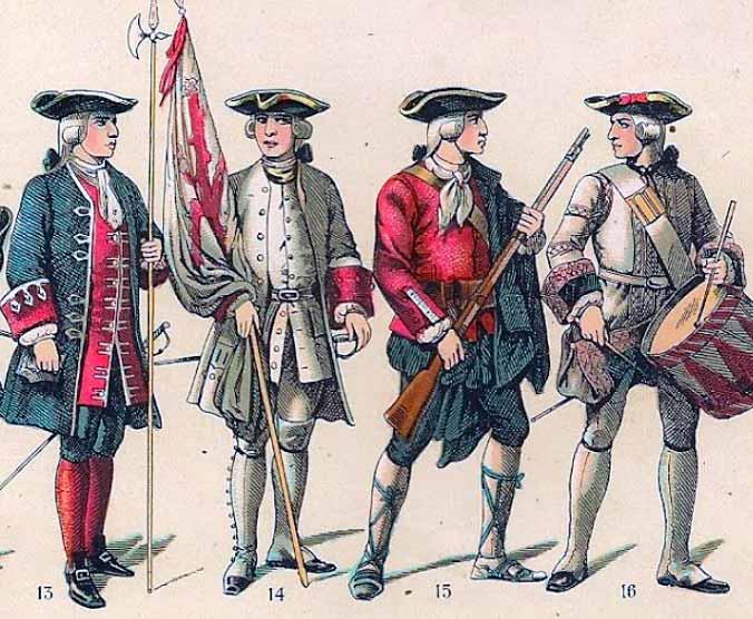Soldados españoles de primera mitad del siglo XVIII