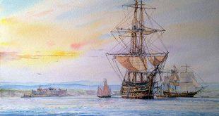 Navío Santísima Trinidad fondeando en la bahía de La Coruña