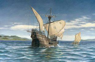 Terra Australis Incognita. Pintura de la nao del navegante español Torres, que descubrió Australia sin saberlo.