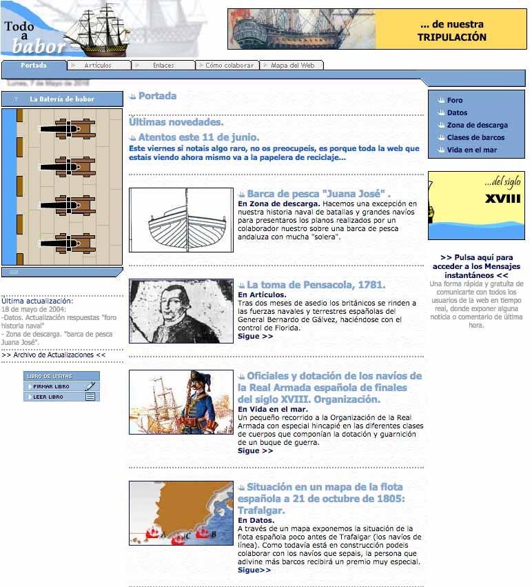 La web Todo a babor en sus incios, en 2003