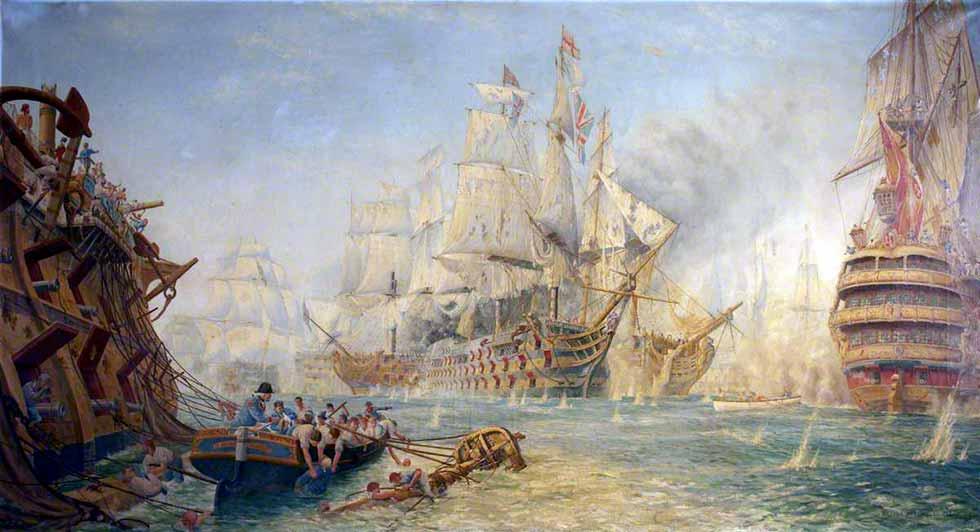 """El """"Victory"""" en Trafalgar."""
