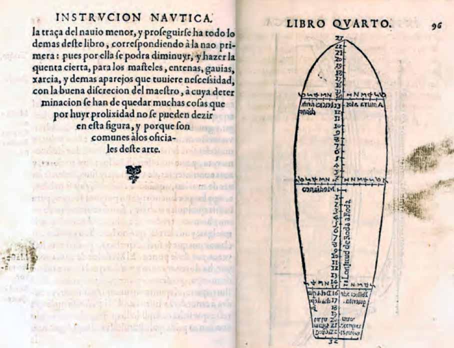 """Texto donde se recoge las palabras """"traza del navío"""" y detalles y medidas de la cubierta principal."""