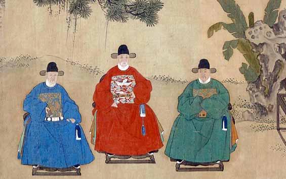 Uniformes de funcionarios la época Imperial China