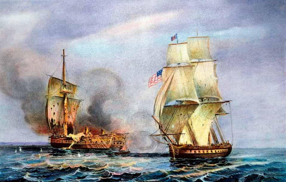 Combate naval entre la fragata USS Constitution y la HMS Java en el Atlántico Sur el 29 de diciembre de 1812. Litografía del siglo XIX.