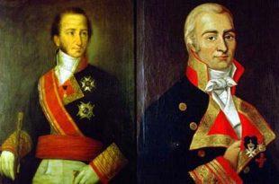 Retratos de Cayetano Valdés y Santiago Liniers con sus uniformes de la Armada española