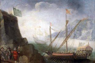Una marina con navíos. Anónimo. Imagen del Museo Nacional del Prado.