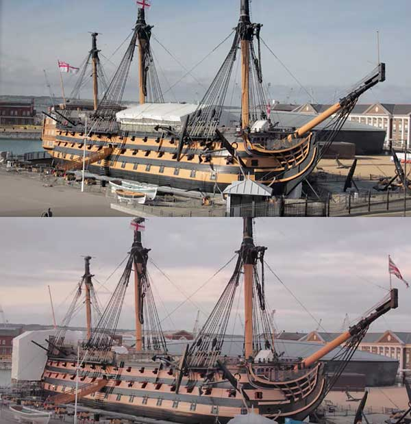 Navío Victory antes y después de su nuevo pintado