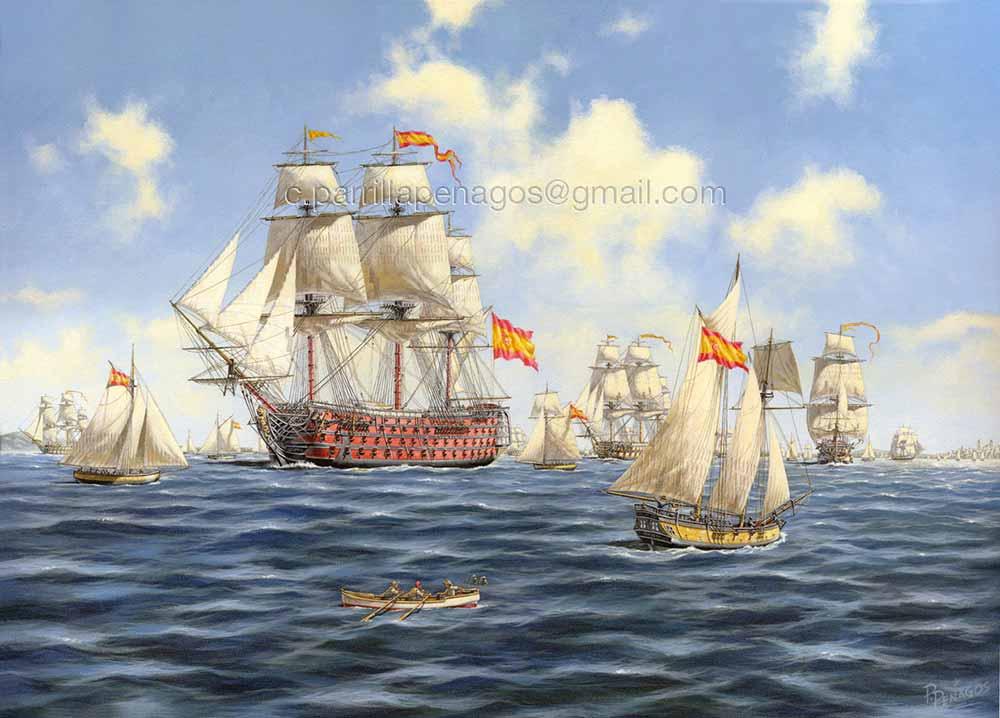 Viento velas y banderas. Pintura del navío Santísima Trinidad