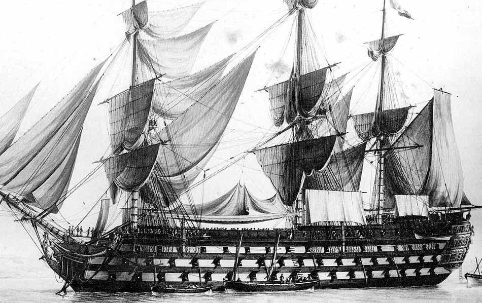 Navío francés Wagram de 120 cañones. Vista en detalle.