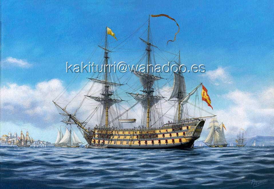 """Pintura de Carlos Parrilla titulada """"ElRayo"""", con el navío ya remontado a 100 cañones."""