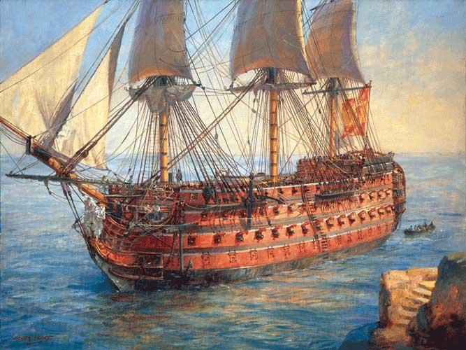 El Santísima Trinidad fue el buque más grande del mundo en el siglo XVIII. Foto: modelismonaval.com
